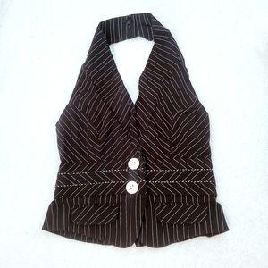 XOXO pin stripe halter button  up vest